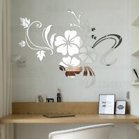 Hibiscus Flowers Wall Mirror Stickers 3D Decorative DIY Mural Art Decal For Home