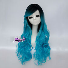 75CM Black Mixed Blue Curly Long Lolita Fashion Women Lady Cosplay Party Wig