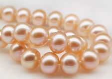 """STUNNING 19""""12-13MM NATURAL SOUTH SEA GENUINE GOLD PINK ROUND PEARL NECKLACE"""