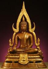 BUDDHA: Antique Sukhothai Bhumisparsamudra, Enthroned, Gilded Bronze, 1800s