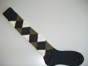 🇬🇧 Men's Long MERINO WOOL Plus Fours Argyle Golf Socks Dark Grey/Green/White