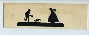 Early c19th Scissor Cut Silhouette #4 One Legged Man & Dog Beg For Money