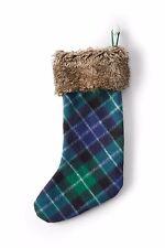 "20.5""x7.5"" Warm Tartan Knit Plaid Xmas Stocking w/faux fur collar Land's End NWT"