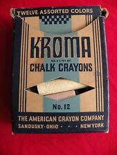 Vintage Kroma Chalk Crayons Box Old Faithful American Crayon Sandusky New York