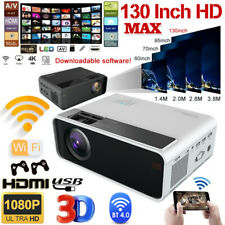 4K 1080P FHD LED Smart Home Theater Projector Android 6.0 Wifi 3D Video Movie US