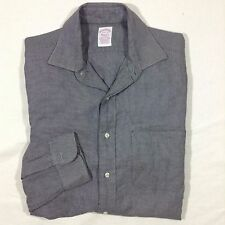 Brooks Brother Makers Dress Shirt Size 15 1/2 - 30 Checkered Black/White