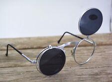 round silver unisex sunglasses retro steampunk UV400 flip up cosplay Gothic