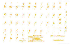 Spanish Transparent keyboard sticker  Yellow letters Online-Welcome