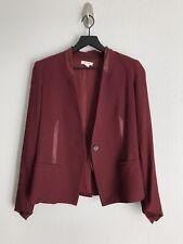 Helmut Lang Jacket Women Long Sleeve V Neck Blazer Plum Red Single Button Size 2