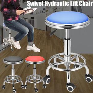 Round Adjustable Black Tattoo Salon Stool Hydraulic Rolling Chair Facial Massage