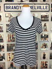 New! Brandy Melville Black White Striped V Neck Shirt Top Nwot