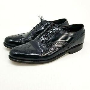 Vintage Florsheim 8.5 3E Extra Wide Wingtip Derby Black Dress Shoes Lace Up