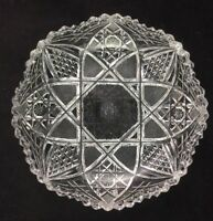 """ABP American Brilliant J. HOARE Cut Glass 6 1/4"""" Low Bowl - SIGNED"""