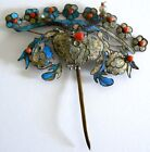EXTRA LARGE Qing Dynasty Kingfisher feather Hair Pin Antique VINTAGE Chinese