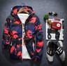 Men's Casual Thin Hooded Jacket Wind Breaker Sport Loose Coat Tops Red