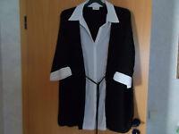 Damen Shirt -Bluse  2 in 1 Optik Canda  schwarz-weiß