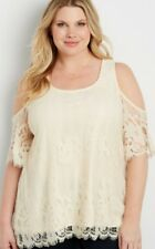 MAURICES LACE COLD SHOULDER TUNIC TOP BLOUSE IVORY PLUS SIZE 0 (0X,XL)