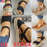 Summer Womens Ankle Strap Flatform Sandals Platform Espadrilles Wedges Shoes USA