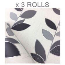 Black White Leaf Wallpaper Glitter Sparkle Synergy Luxury Textured Vinyl x 3