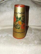 Vintage RUSSIAN Folk Art USSR Khokhloma Laquer Wood Gilt SPILL Vase w/ Sticker