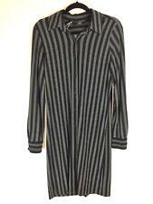 Norma Kamali Gray Black Striped Button Up Shirt Dress Stretchy Size M