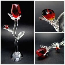 Crystal Red Rose Figurine with Lady Beetle,I Love You,Romantic Gift, Mothers Day