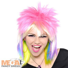 Punk Rock Wig Ladies Fancy Dress Rainbow 1980s Womens Adults Costume Accessory