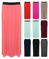 Womens Plus Size Long Plain Stretch Bodycon Gypsy Jersey Maxi Dress Ladies Skirt