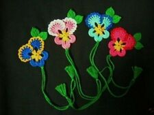 4 CROCHET MIXED PANSY FLOWER  BOOKMARK  SCRAPBOOKING  CRAFTS  WOMEN   CHRISTMAS