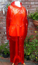 """Glass red hooded pvc fetish raincoat 46"""" chest 52 long strong aroma"""