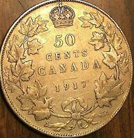 1917 CANADA SILVER 50 CENTS COIN HALF DOLLAR