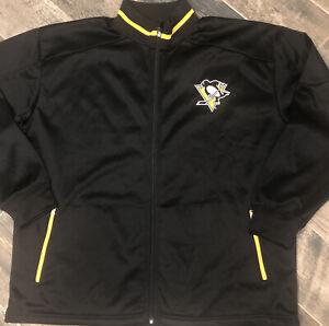 Mens Pittsburgh Penguins Full Zip embroidered Logo Track Jacket 2XL Black NHL