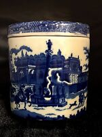 """Victoria Ware Blue White Ironstone Oval Canister 6"""" Stamped Lidded"""