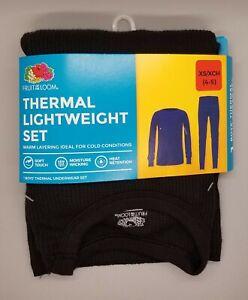 NEW Fruit of the Loom Black Thermal Lightweight Warm Underwear Set Boy's XS 4-5