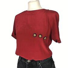 VINTAGE Mondi Red Silk Star Embellished Gold USA Boxy Blogger Blouse Size 10