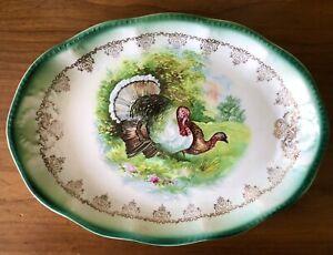 Vintage EEC Porcelain Beautiful Turkey Pair Sm Platter Gold Trim Scalloped Edge