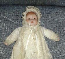 Rare SANKYO Porcelain Musical Baby Doll ~ Crocheted Gown & Bonnet Silk Bows