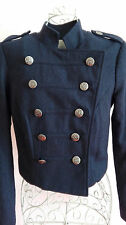 Silence&Noise womens wool blend navy millitary cropped blazer coat size 8/XS exc