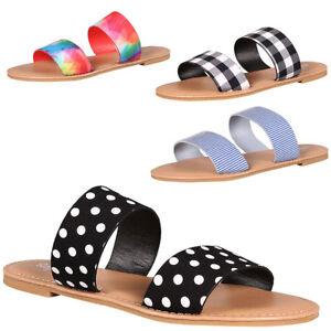 Double Band Open Toe Flat Slide Sandal Flip Flops Black White Blue Fuchsia Multi