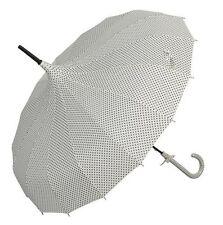 Clayre & Eef Regenschirm Schirm retro Stockschirm 83x87 cm weiß Punkte 51953