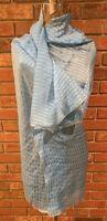 "Christian Dior Vintage Large Silk Scarf Blue Gold Metallic Sheer Shawl 44""x44"""