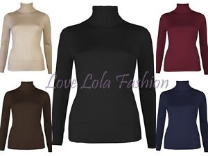 Womens Roll Necks Ladies Jumpers Plain Fine Knit Polo Tops Ski Snow Size 8  - 16