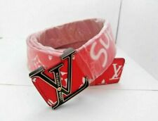 LOU RED MONOGRAM FASHION STYLE SUPREME BELT WITH LV BLACK BUCKLE