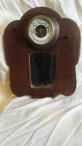VINTAGE BAROMETER, MOUNTED ON HALL STAND WITH A MIRROR AND HOOKS