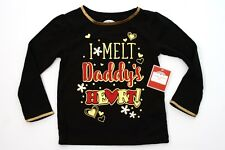 NEW HOLIDAY TIME TODDLERS GIRLS T-SHIRT I MELT DADDYS HEART SZ 3T BLACK GOLD TEE