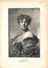 Portrait de Femme Woman Chien Dog par Charles Chaplin (peintre) GRAVURE 1883