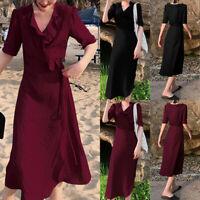 Women V Neck Wrap Midi Dress Ladies Summer Holiday Ruffled Sun Dresses Size 8-26