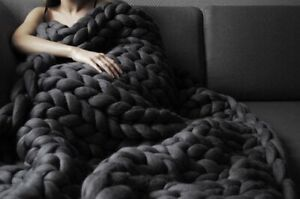 Chunky blanket Arm knit Chunky Knitted Thick Blanket Bulky Knit Throw Merino