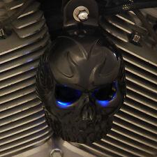 Skull Horn Cover with back lit LED eyes. Gloss Black.  Harley Davidson. GBETL-1