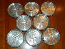 8- Hammered Aluminum Geese in Flight Coasters